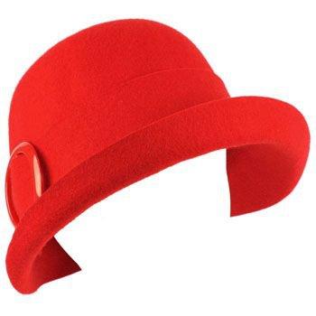 100% Wool Winter Structured Upturn Brim Cloche Bucket Bell Belt Church Hat Red