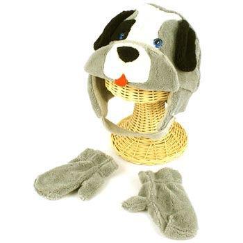 Winter Child Baby 0-1 Animal Puppy Ski Trapper Beanie Lined Hat w Mitten Gloves