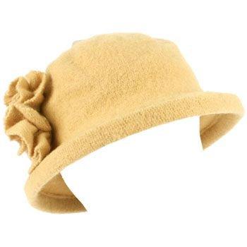 100% Wool Winter Cloche Bucket Flower Leaf Crushable Hard Brim Church Hat Camel