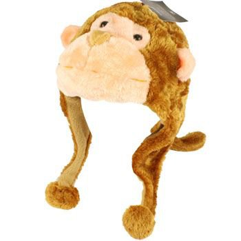 Faux Fake Fur Animal Plush Monkey w Tail Trooper Trapper Slip Tie Ski Pompom Hat