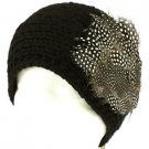 Real Long Feathers Adjustable Hand Knit Handmade Headwrap Headband Ski Black