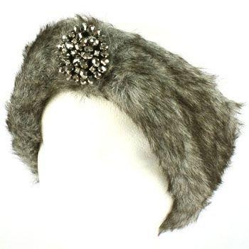 Winter Faux Fake Fur Removable Rhinestone Brooch Elastic Headwrap Headband Gray