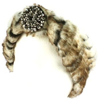 Winter Faux Animal Fur Removable Rhinestone Brooch Ski Headwrap Headband Tiger