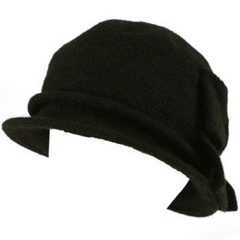 100% Wool Winter Cloche Bucket Ribbon Bow Crushable Wire Brim Church Hat Black