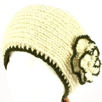 100% Winter 2 Tone Hand Knit Himalaya Headwrap Headband Fleece Lined Ski Ivory