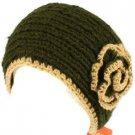 100% Winter 2 Tone Hand Knit Himalaya Headwrap Headband Fleece Lined Ski Olive