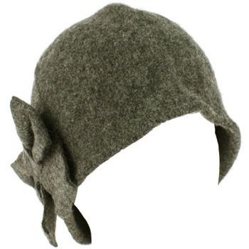 100% Wool Winter Cloche Crushable Foldable Bucket Big Bow Church Hat Cap Gray