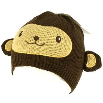 Kids Boys 6+ Winter Knit Animal Bear Ears Beanie Skull Cap Hat Ski Brown 6-1/4+