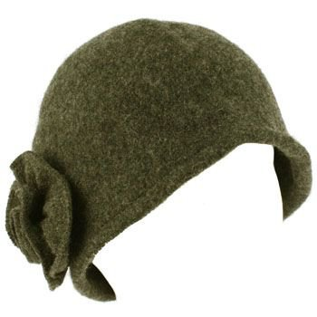 100% Wool Winter Cloche Crushable Foldable Bucket Flower Church Hat Cap Charcoal