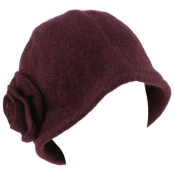 100% Wool Winter Cloche Crushable Foldable Bucket Flower Church Hat Cap Purple