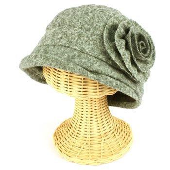 Girls 6+ Winter Cloche Crushable Foldable Bucket Big Flower Church Cap Hat Gray