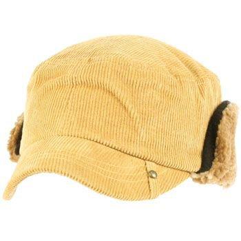 Winter Corduroy Sherpa Plaid Earflaps Cadet Military Castro Ski Hat Cap Camel