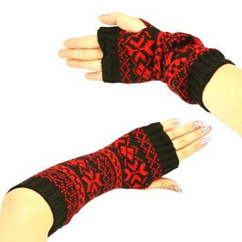 Winter Thumb Hole Knit Hand Arm Warmer Fingerless Snowflake Long Gloves Red Blk