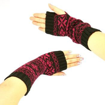 Winter Thumb Hole Knit Hand Arm Warmer Fingerless Snowflake Long Gloves Berry