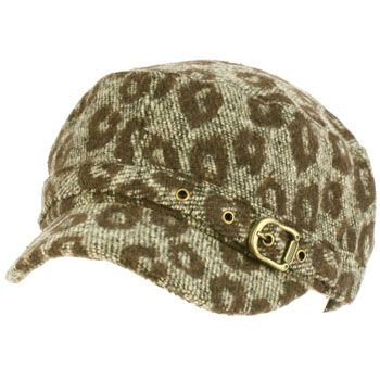 Elastafit Winter Animal Leopard Pri Knit Cadet Military Castro Hat Cap Brown