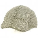 Men's Wool Blend Winter Duck Bill Ivy Cabby Driver Herringbone Hat Cap Black M/L