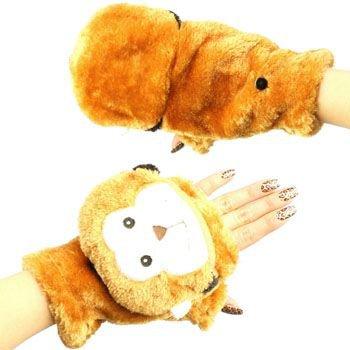 Winter Soft Fuzzy Furry Faux Fur Monkey Flip Fingerless Mitten Gloves Glomitt