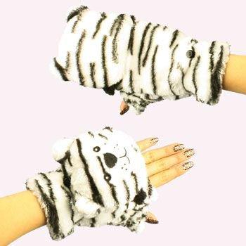 Winter Soft Fuzzy Furry Faux Fur Wt Tiger Flip Fingerless Mitten Gloves Glomitt