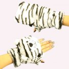 Winter Soft Fuzzy Furry Faux Fur Wt Tiger Flip Fingerless Mitten Gloves Glomitt