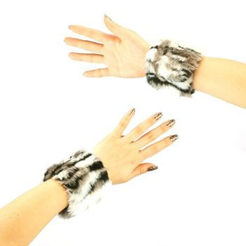 2 Winter Faux Fur Wrist Arm Warmer Cuff Slap On Wristband Fuzzy Furry Zebra