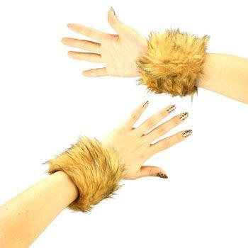 2 Winter Faux Fur Wrist Arm Warmer Cuff Slap On Wristband Fuzzy Furry Natural