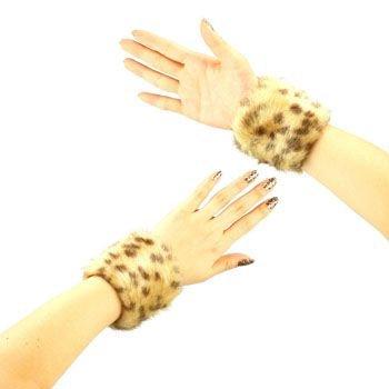 2 Winter Faux Fur Wrist Arm Warmer Cuff Slap On Wristband Fuzzy Furry Leopard