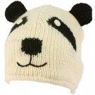 100% Wool Nepal Winter Cute Panda Bear Animal Fleece Lined Beanie Ski Cap Hat
