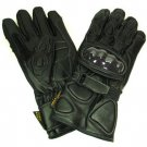 Mens Racing Leather Padded Carbon Biker Long Gloves 2XL