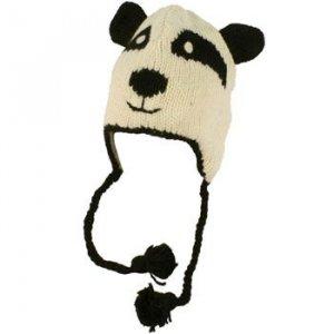 100% Wool Winter Panda Bear Animal Fleece Lined Trapper Earflaps Ski Cap Hat