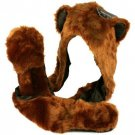 Adult Winter Faux Fake Animal Fur Scarf Trapper Hat w Paw Gloves Mittens Bear