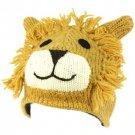 100% Wool Nepal Winter Cute Lion w Ears Animal Fleece Lined Beanie Ski Cap Hat
