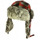 Men's Winter Faux Fur Plaid Check Thick Trooper Trapper Ski Aviator Cap Hat Red