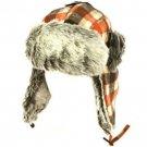 Men's Winter Faux Fur Plaid Check Thick Trooper Trapper Ski Aviator Hat Orange