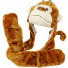 Winter Faux Fake Fuzzy Monkey Tail Animal Fur Scarf Trapper Hat w Pocket Gloves