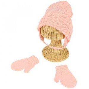 Winter Girls 0-1 Cable Knit Ski Trapper Beanie Hat w Mittens Gloves Set Pink