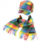 Kids Winter Plaid Castro GI Cadet Hat Cap Softer Cashmere Scarf? Set Rainbo