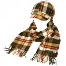 Ladies Winter Tartan Plaid Newsboy Cap Hat Softer Cashmere Scarf? Gift Set Brown