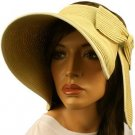 "Compact Summer Wide 5-1/2"" Brim Floppy Visor Roll Up Sun Topless Hat Cap Natural"