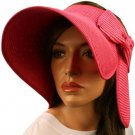 "Compact Summer Wide 5-1/2"" Brim Floppy Visor Roll Up Sun Topless Hat Cap Pink"
