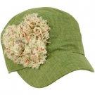 Linen Toddler Girls Kids 4+ Summer Flowers Cadet GI Castro Hat Cap 53+cm Olive