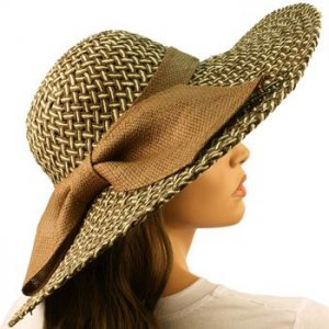"Shapeable Wire Wide 5"" Brim Beach Summer Ribbon Bow Floppy Sun Hat Cap Brown"