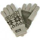 Men's Winter Snowflake Thinsulate 40gram Lined 3M Knit Snow Ski Gloves Gray M/L