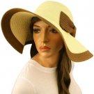 "50+ UPF Beach Summer Ribbon Bow Wide 4-3/4"" Brim Floppy Sun Hat Cap Natural Brn"