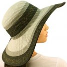 "50+ UPF Tricolor Shimmer Beach Summer Wide 4-3/4"" Brim Floppy Sun Hat Cap Black"