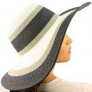 "50+ UPF Tricolor Shimmer Beach Summer Wide 4-3/4"" Brim Floppy Sun Hat Cap Blue"
