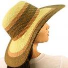 """50+ UPF Tricolor Shimmer Beach Summer Wide 4-3/4"""" Brim Floppy Sun Hat Cap Brown"""
