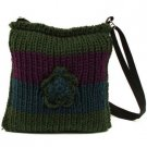 Crochet Flower Tri Knit Handbag Shoulder Body Bag Olive