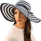 """50+ UPF Beach Summer Stripe Shapeable Wire Wide 5"""" Brim Floppy Sun Hat Cap Navy"""
