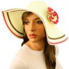 """50+ UPF Beach Summer Tricolor Flower 4-1/2"""" Brim Floppy Sun Hat Cap Ivory Pink"""