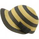 Striped Cap Visor Brim Ribbon Summer Bucket Short Back Sun Hat Blue Natural
